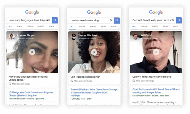 Google New Feature Selfie Video Search Results