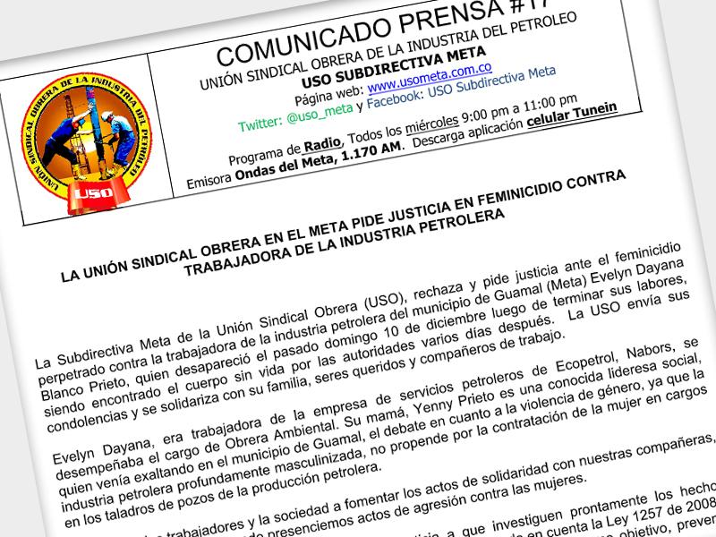 La Unión Sindical Obrera en el Meta pide justicia en feminicidio contra trabajadora de la industria petrolera
