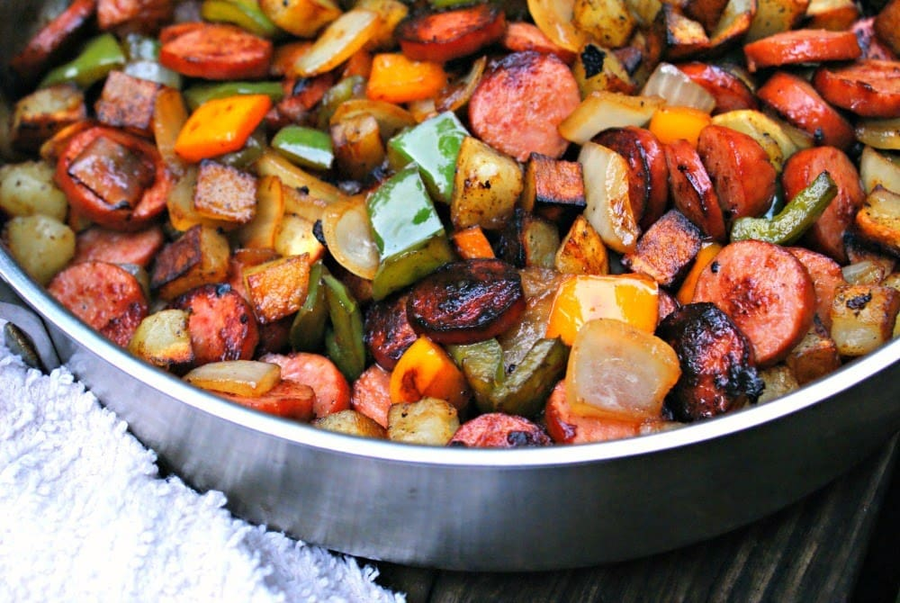 Kielbasa, Pepper, Onion and Potato Hash is the best easy recipe in my collection.  Everyone loves it, even the kids!  #kielbasa #dinner