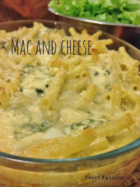 sweet kwisine, gratin de pâte, fromage, bleu d'auvergne, mac and cheese, cuisine familiale