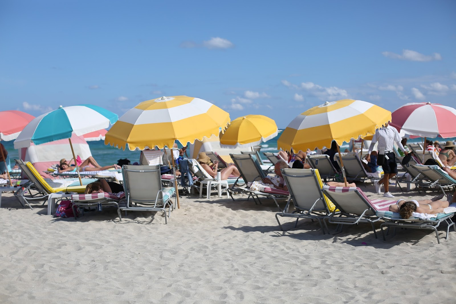 striped Miami Beach beds