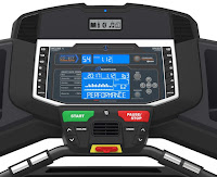 Dual Track STN blue-backlit LCD console on Nautilus T618 Treadmill MY18, with Bluetooth, 4 user profiles, speakers & MP3 input, USB charging port, cooling fan