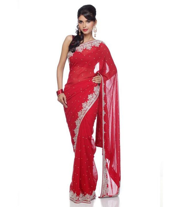 Red Sarees Collection 2012 | Red Saree with Golden Border ...