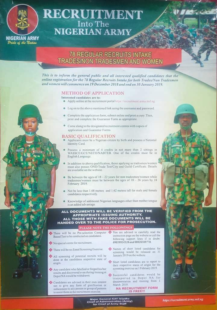 RECRUITMENT IN TO THE NIGERIAN ARMY