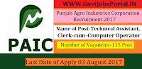 Punjab Agro Industries Corporation Recruitment 2017– 115 Technical Assistant, Clerk-cum-Computer Operator