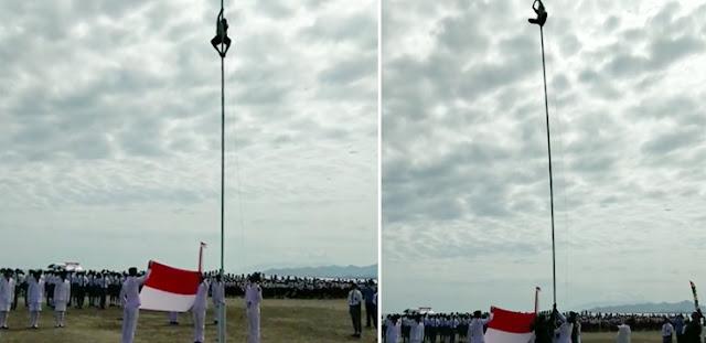 Merah Putih Nyaris Tak Berkibar, Bocah SMP Langsung Panjat Tiang Bendera