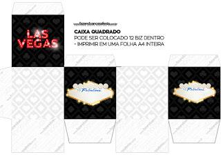 Caja Cubo para Imprimir Gratis de Fiesta de Las Vegas.