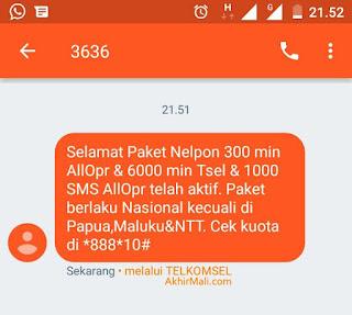 Paket Nelpon 6000 Menit Telkomsel + 300 Menit All Operator + 1000 SMS All Operator