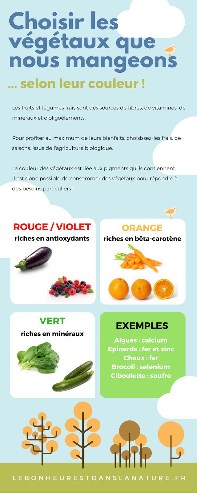 Vegetaux selon couleur fruit légumes minéraux vitamines