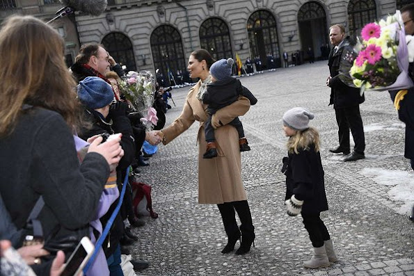 Crown Princess Victoria, Prince Daniel and Princess Estelle and Prince Oscar attended festivities to celebrate the Crown Princes's name day at the Royal Palace