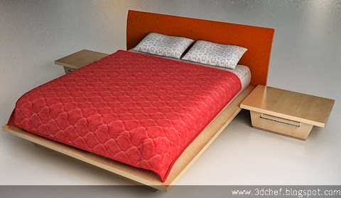 free 3d model simple bed