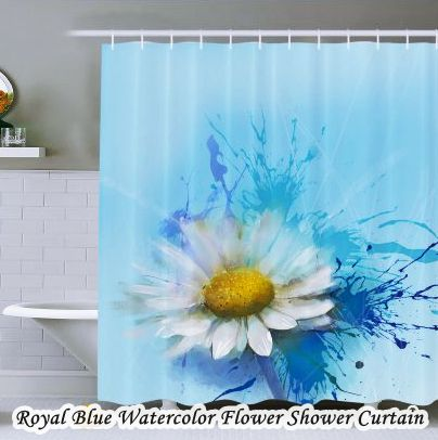 Royal Blue Bathroom Sets Flower Shower Curtain
