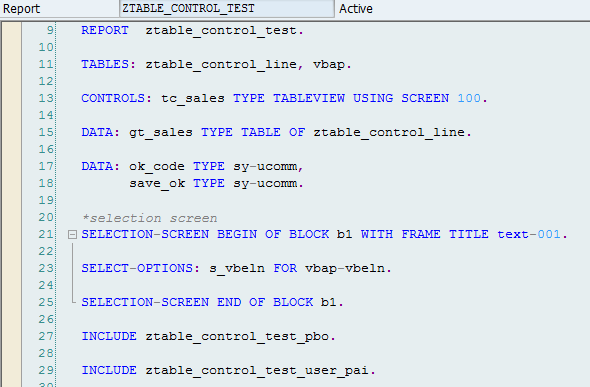 table control ABAP logic - definitions
