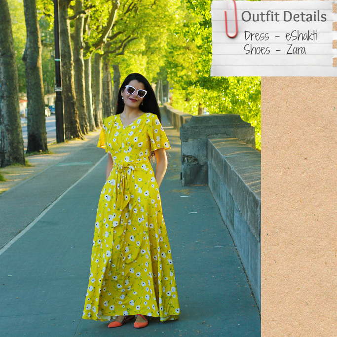 eShakti dress, yellow maxi dress, summer dresses, yellow summer dress, summer maxi dress, Spring dresses