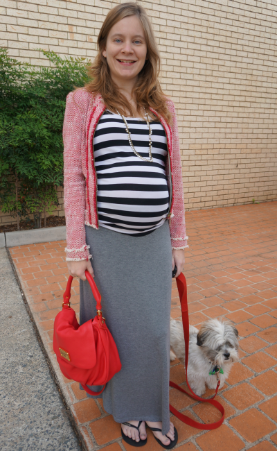 third trimester target grey maxi skirt glassons stripe tank zara blazer red bag outfit