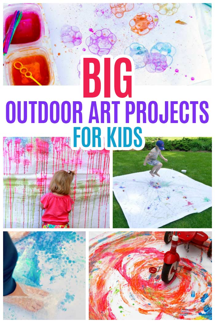 BIG outdoor art projects for kids! Get creative and messy with fun outdoor crafts. Outdoor art ideas for kids, painting projects for kids, summer activities for kids, backyard fun. Perfect for summer playdates and birthday parties!  #kidsactivities #painting #backyard #summerfun