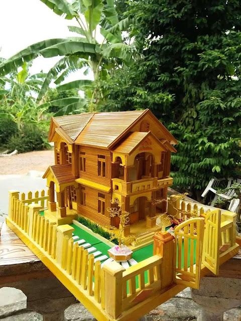 Mô hình nhà bằng tăm tre đẹp, đơn giản, Món quà ý nghĩa