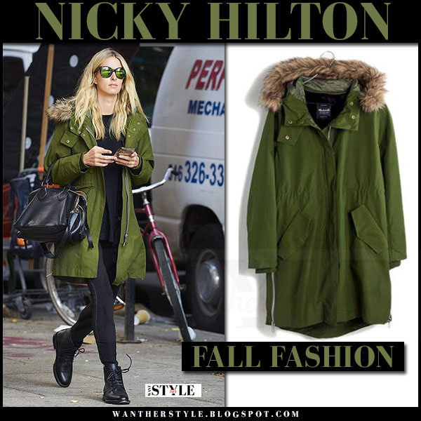 Nicky Hilton in green canvas parka madewell field parka and black trousers what she wore