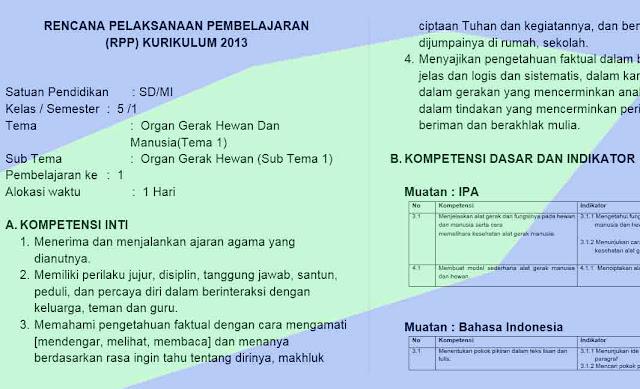 RPP Kelas 5 Semester 1 Kurikulum 2013 Revisi TP. 2018/2019