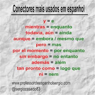 Conectores mais usados em espanhol, Gramática, Espanhol Português, Conectores Espanhol, Conectivos Espanhol, Lista de Conectores