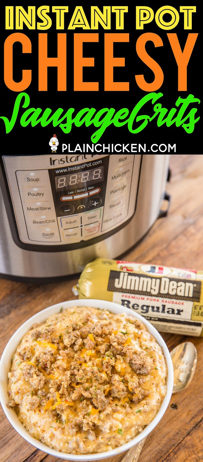 Instant Pot Cheesy Sausage Grits - seriously THE BEST grits ever! Even grits haters will LOVE these easy grits. Jimmy Dean Premium Pork Sausage makes this recipe shine! The unique seasoning blend adds AMAZING flavor to the recipe! Original Jimmy Dean Premium Pork Sausage, chicken broth, milk, Ranch seasoning, garlic powder, cheddar cheese. Great for a quick weekday breakfast, lunch, dinner or weekend brunch. Just add biscuits, eggs and fruit! #ad #instantpot #sausage #breakfast #grits
