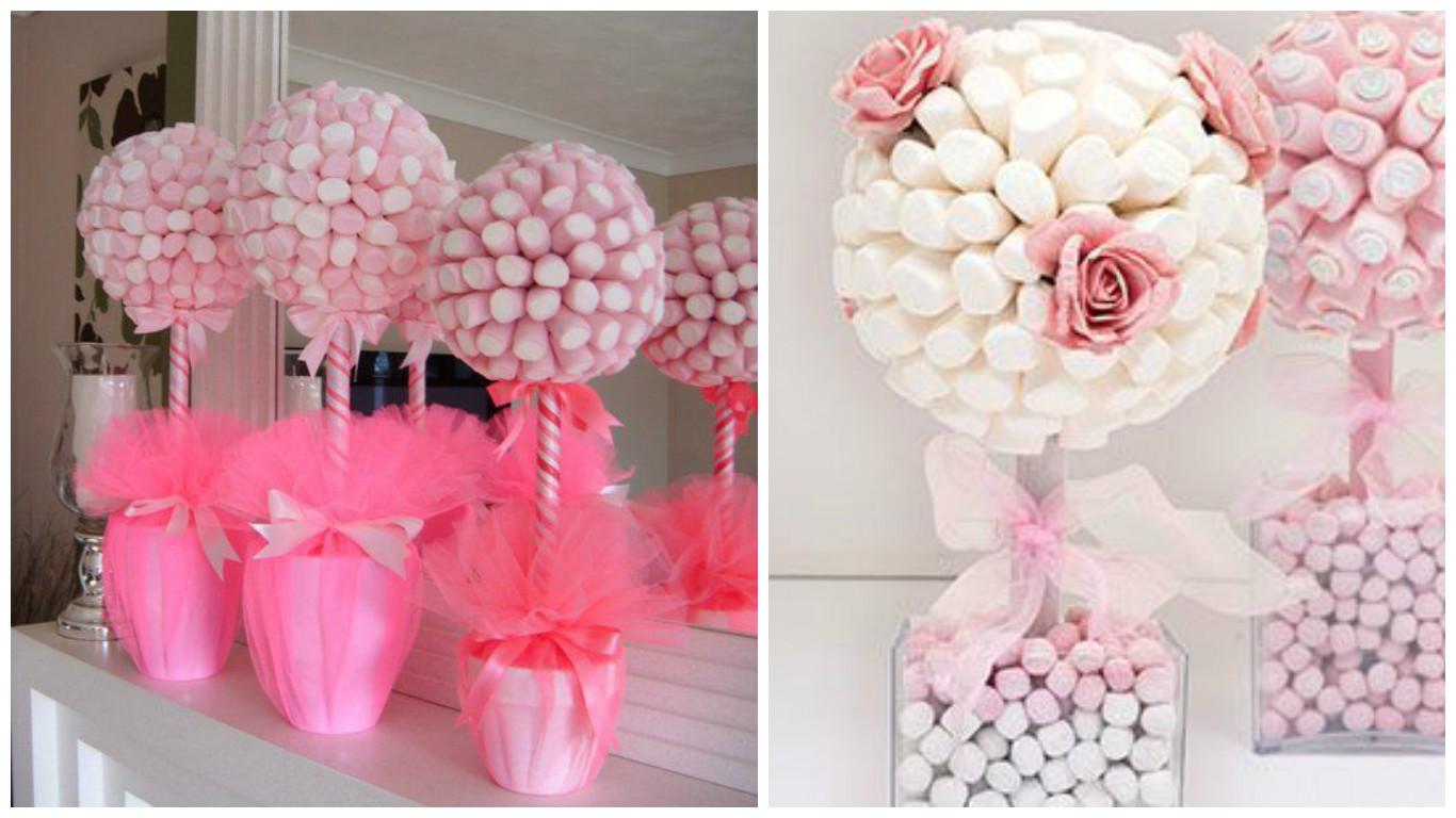 Mesa de dulces con bombones 8 ideas que te servir n - Como hacer centros de mesa con dulces para bautizo ...
