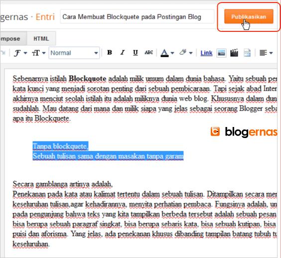 Cara Membuat Blockquote pada Postingan Blog