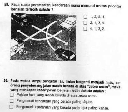 Kisi Kisi Kunci Jawaban Tes Tulis SIM C Part 1