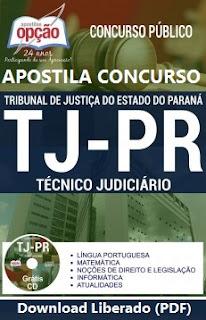 Apostila do concurso TJPR - Tribunal de Justiça-PR, Grátis vídeo-aula