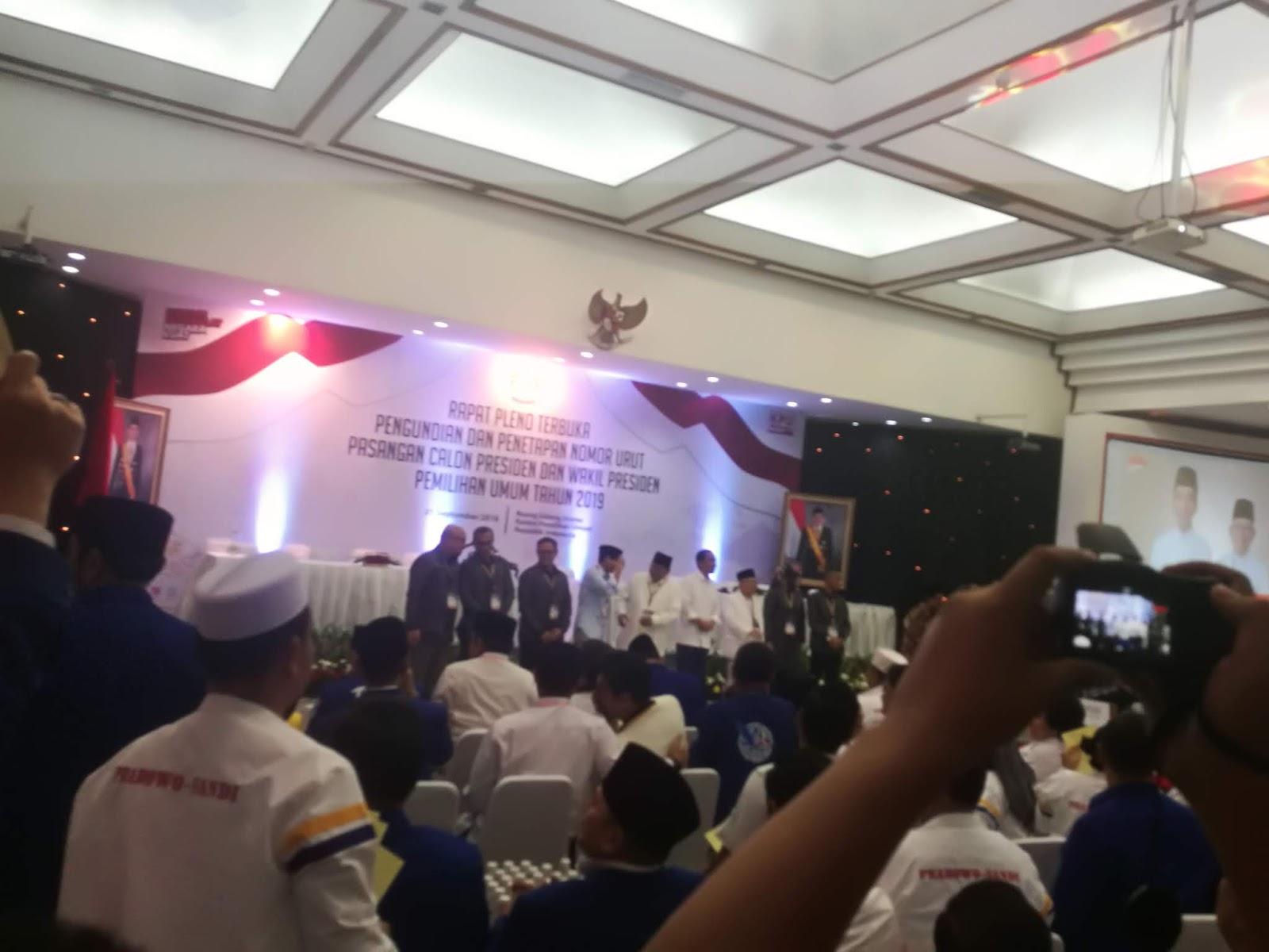 Pasangan Prabowo-Sandi Dapat Nomor Urut 02