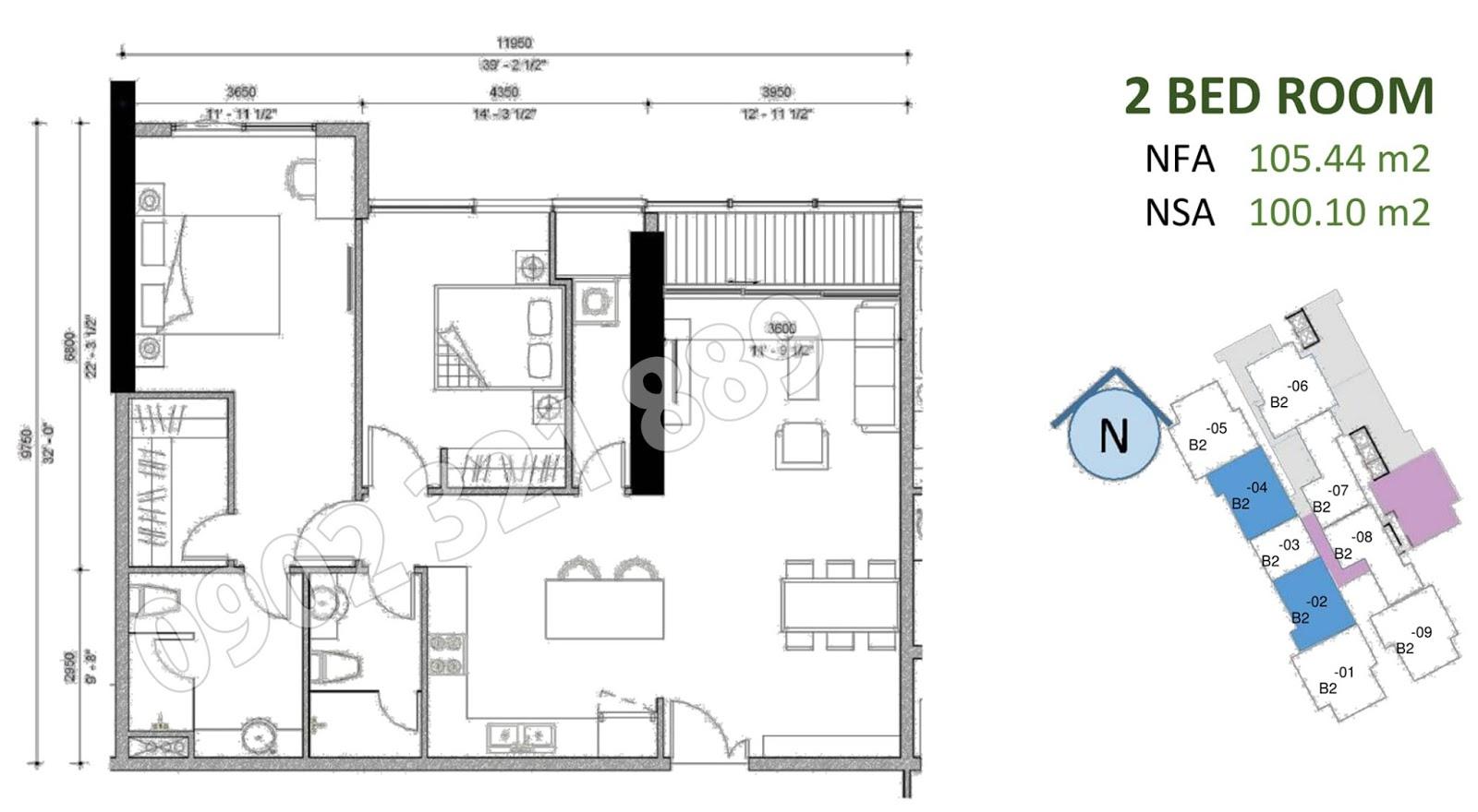 mặt bằng căn hộ sunwah pearl 2 phòng ngủ B2-02 và B2-04