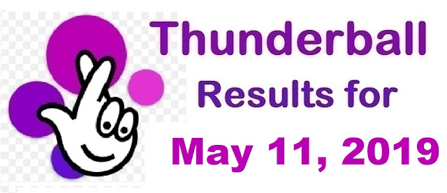Thunderball results for Saturday, May 11, 2019