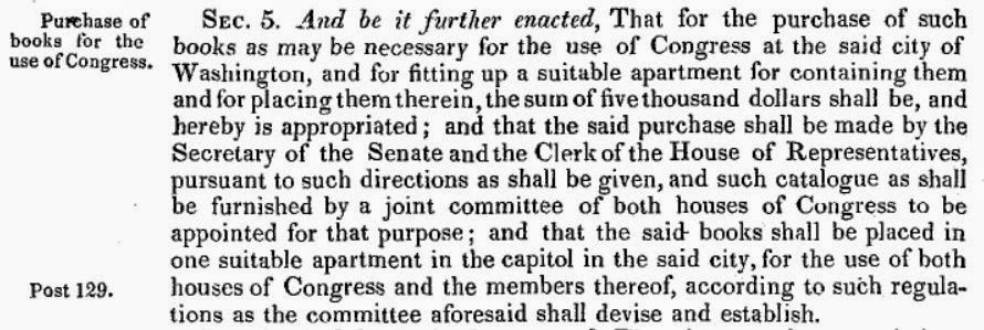 Text of 2 Stat. 56, establishing the Library of Congress.