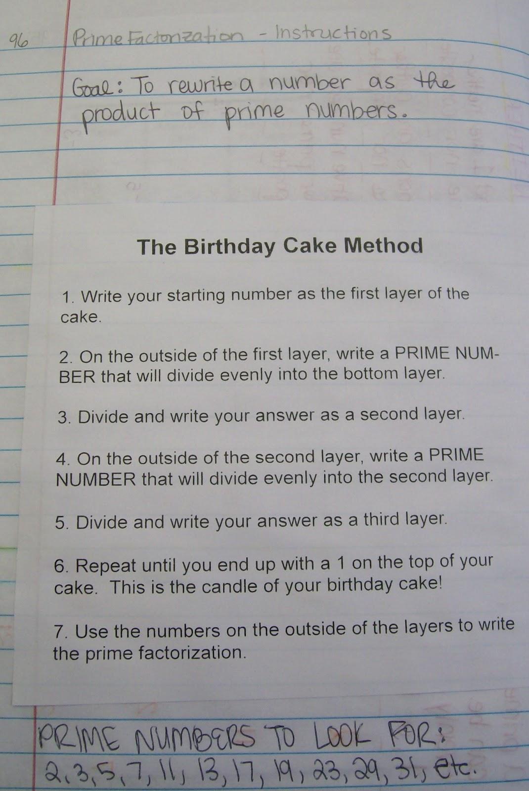 Math Love Prime Factorization Using The Birthday Cake