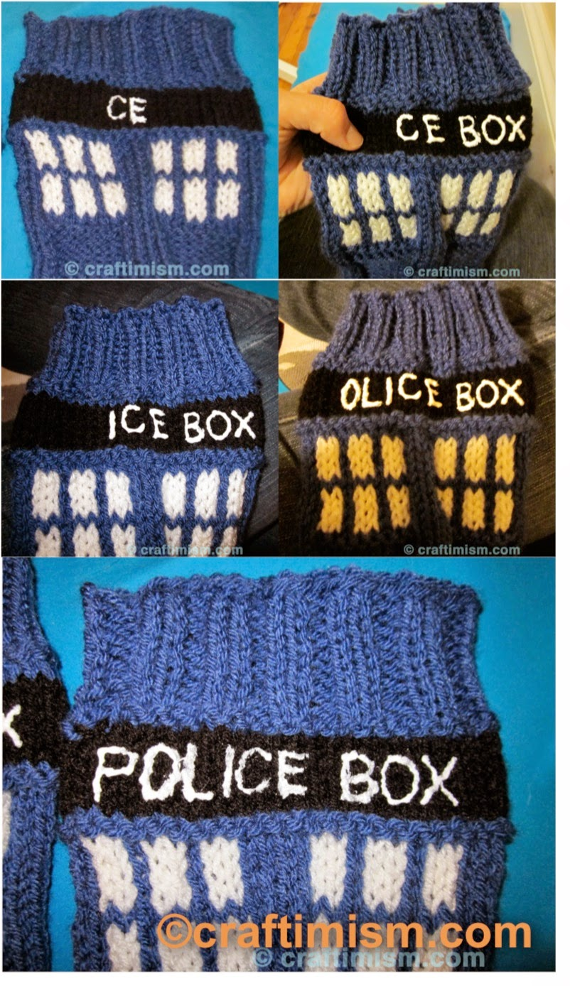 craftimism puffy paint lettering tutorial police box legwarmers