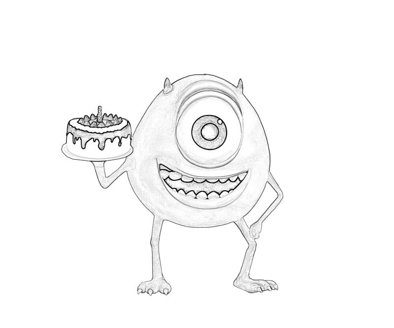 Monsters inc mike wazowski cake mario for Mike wazowski coloring page