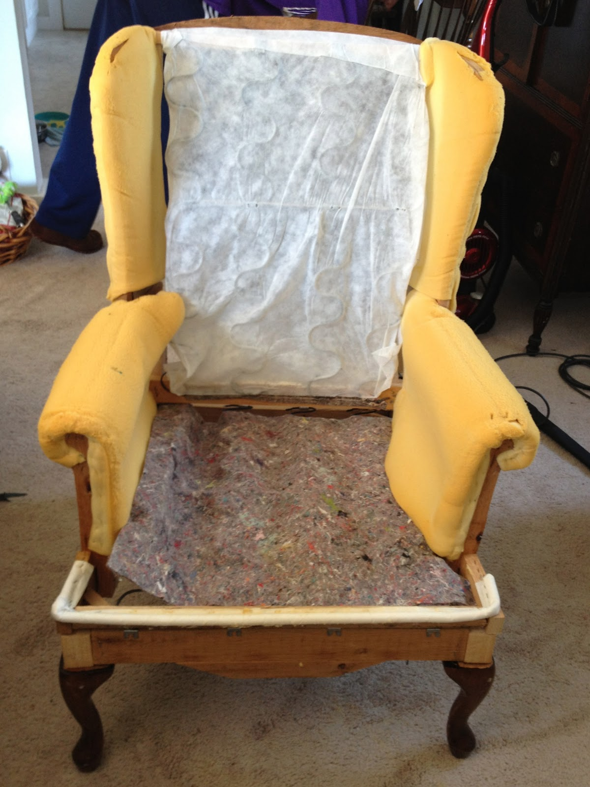 Make Bake And Love Re Upholstering A Wing Back Chair