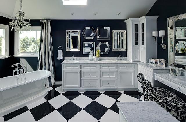 Cat Ruang Tamu Minimalis Warna hitam kombinasi putih