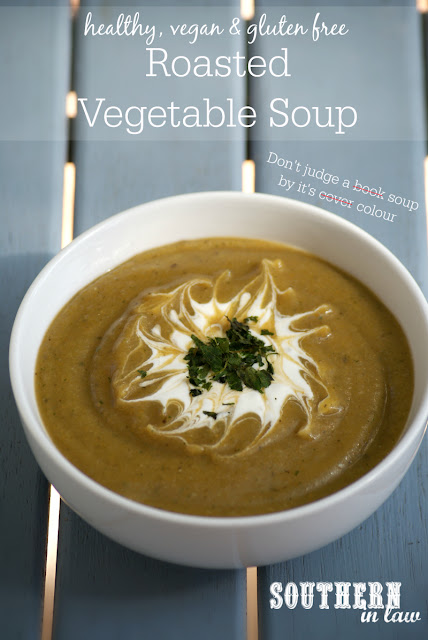 Healthy Roasted Vegetable Soup Recipe | low fat, gluten free, vegan, clean eating friendly, egg free, sugar free, low carb