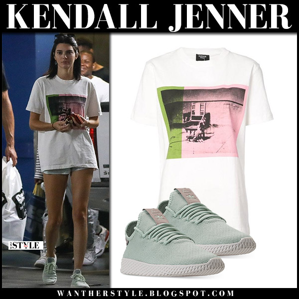 Kendall Jenner in white print t-shirt and mint green adidas sneakers model street fashion august 5