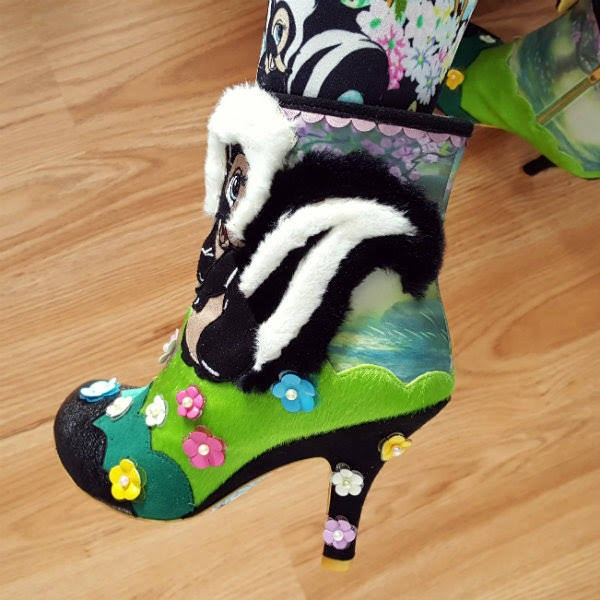 fluffy skunk applique on Disney Bambi ankle boot