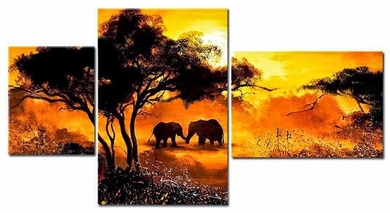 Pinturas Temáticas : Imágenes de lienzos paisajes africanos
