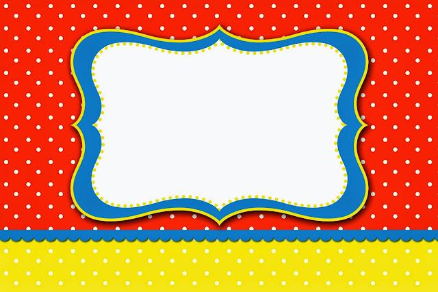 Para hacer invitaciones, tarjetas, marcos de fotos o etiquetas de Rojo, Amarillo y Lunares Blancos para imprimir gratis.