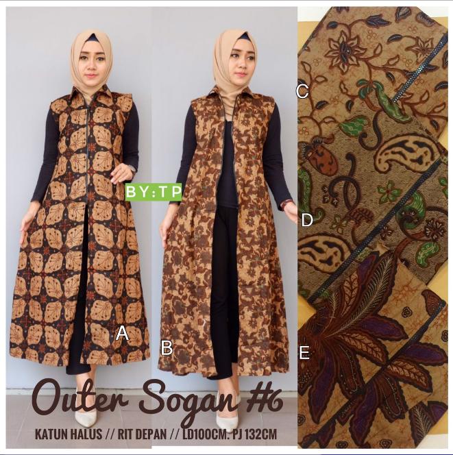 Busanamuslim 10 Contoh Model Outer Batik Tanpa Lengan Trendy