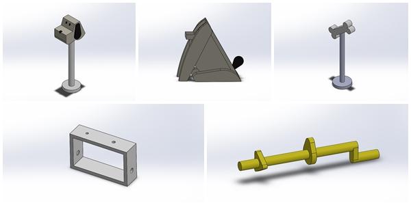 elementos ensamblaje de un juguete automata con solidworks