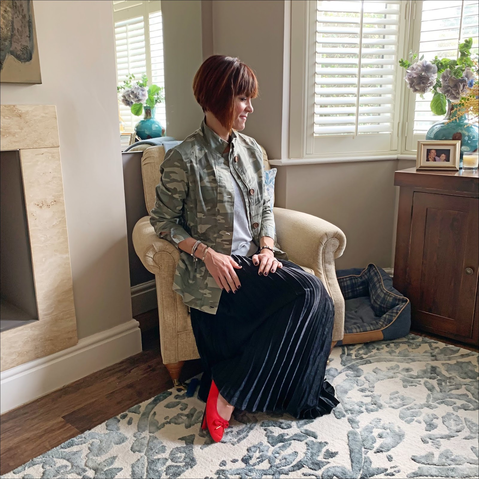 my midlife fashion, jd williams, jd williams camo stretch cotton utility jacket, jd williams sunray pleat maxi skirt, jd williams bow ballerina shoes, jd williams crew neck jumper