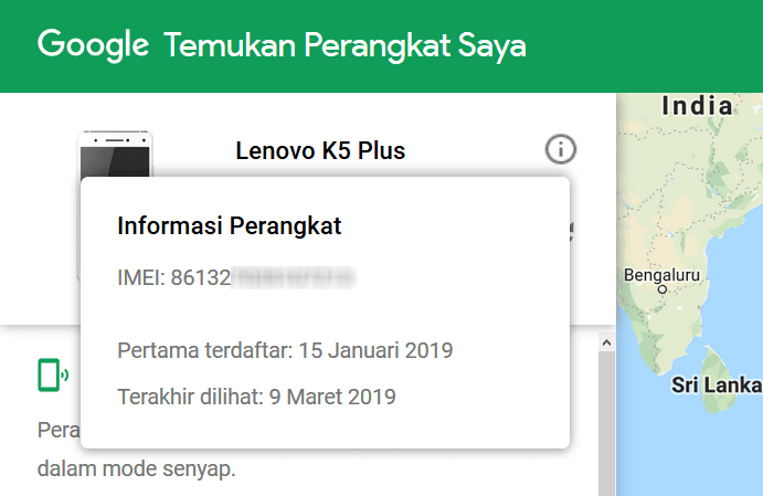 Nomor IMEI Android Hilang