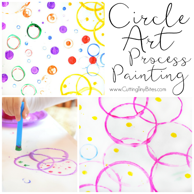 Circle Art Process Painting.  Open-ended creative activity for toddlers, preschoolers, kindergarteners, or elementary children, perfect for exploring shapes and colors.