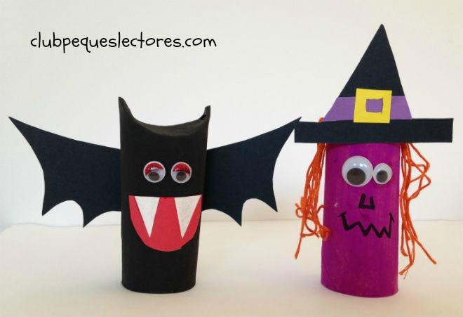 manualidad infantil de halloween con rollos papel, murcielago y bruja