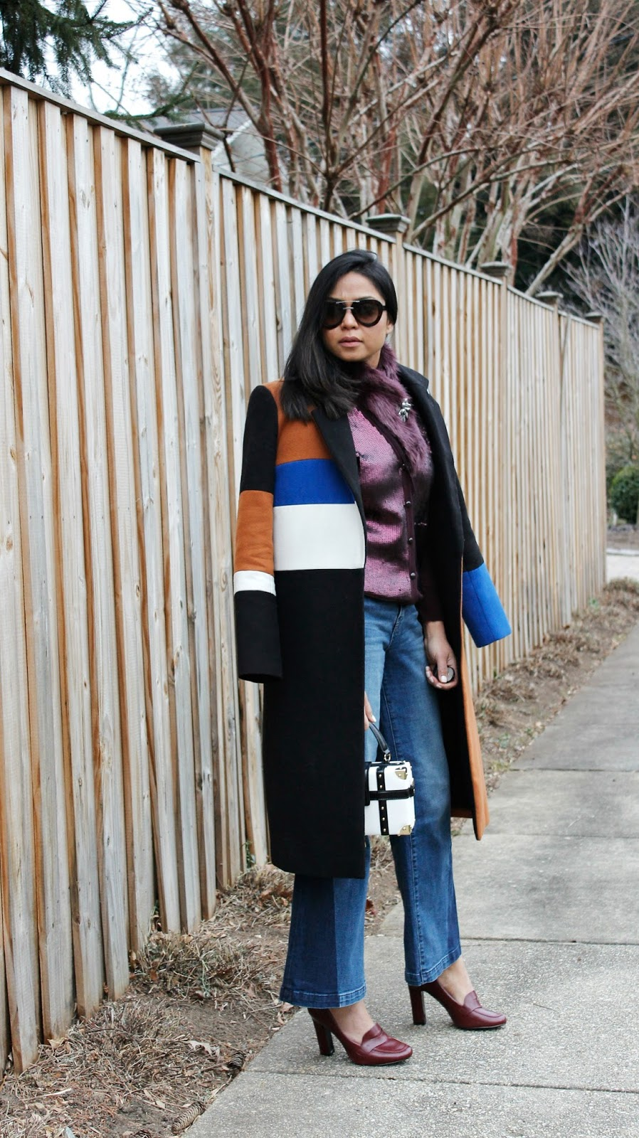 Shop bop color block coat, gap wide leg denim, sequin cardigan with fur, loafers
